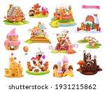 sweet houses and castles. 3d... | Shutterstock .eps vector #1931215862