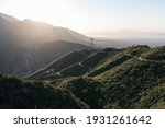 Morning view of Mt Lukens Truck Trail fire road and Mt Wilson in the San Gabriel Mountains near Pasadena and Los Angeles California.