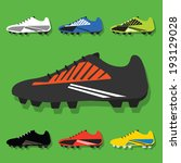 Soccer Shoes Set Icons With...