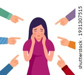 sad or depressed woman crying...   Shutterstock .eps vector #1931307515