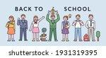 students in school uniforms are ... | Shutterstock .eps vector #1931319395