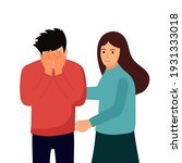 woman comforting depressed...   Shutterstock .eps vector #1931333018