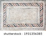 Horizontal ancient byzantine natural stone tile mosaics with geometrical frame. Copy space for text. Mock up template