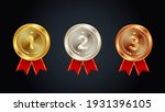 gold silver and bronze medals... | Shutterstock .eps vector #1931396105