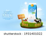 3d milk ad template for product ... | Shutterstock . vector #1931401022