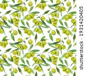 pattern with green olive fruits ... | Shutterstock . vector #1931420405