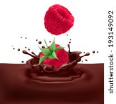 Appetizing raspberries dipping into chocolate with splashes - stock vector