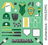 vector set  baseball objects...   Shutterstock .eps vector #193152992