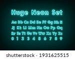 turquoise neon capital alphabet ... | Shutterstock . vector #1931625515
