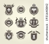 coat of arms and knight blazon  ... | Shutterstock .eps vector #1931640842