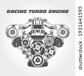racing engine with supercharger ... | Shutterstock .eps vector #1931641595