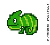 8 bit pixel chameleon. cartoon... | Shutterstock .eps vector #1931654375