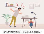 child abuse concept. angry... | Shutterstock .eps vector #1931665082