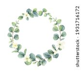 watercolor hand painted wreath... | Shutterstock . vector #1931716172