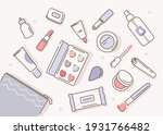 cosmetic bag with different... | Shutterstock .eps vector #1931766482