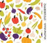 vegetable seamless pattern.... | Shutterstock .eps vector #1931808992