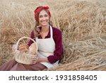 Female Farmer Sitting Wheat...