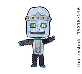 cartoon waving robot | Shutterstock . vector #193187546