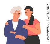 happy adult daughter hugging... | Shutterstock .eps vector #1931887025