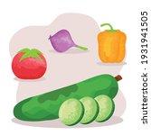 watercolor vegetarian food set...   Shutterstock .eps vector #1931941505