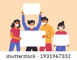 people with placards. protest.... | Shutterstock .eps vector #1931967332