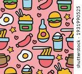 cartoon food doodle seamless...   Shutterstock .eps vector #1931990525
