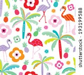 seamless tropical flamingo and... | Shutterstock .eps vector #193199588