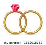 pair of gold engagement rings.... | Shutterstock .eps vector #1932018152