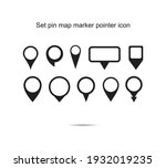 set pin map marker pointer icon ... | Shutterstock .eps vector #1932019235