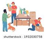 volunteers donating foods to... | Shutterstock .eps vector #1932030758