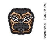 maori pattern face. samoan... | Shutterstock .eps vector #1932045728