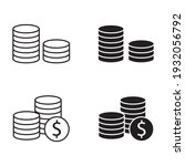 stacks of coins vector icon set | Shutterstock .eps vector #1932056792