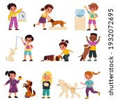 kids with pets. smiling...   Shutterstock .eps vector #1932072695
