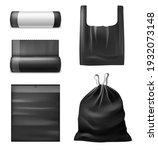 realistic black trash bags....   Shutterstock .eps vector #1932073148