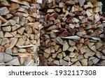 Drying Firewood Logs Stacking...