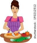 illustration of a girl chopping ... | Shutterstock .eps vector #193212512
