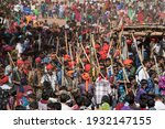 Small photo of GUJARAT - INDIA - March 14, 2017: Rathva tribal people with their armament dance during the annual tribal Holi Festival.