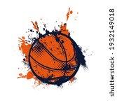 basketball ball with grunge... | Shutterstock .eps vector #1932149018