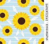 seamless pattern with sunflower ... | Shutterstock .eps vector #1932165695
