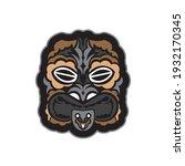 maori pattern face. samoan... | Shutterstock .eps vector #1932170345