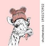 funny giraffe in the pink... | Shutterstock .eps vector #1932172922
