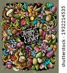 happy easter vector doodles... | Shutterstock .eps vector #1932214535