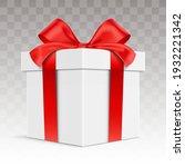white vector giftbox. realistic ... | Shutterstock .eps vector #1932221342