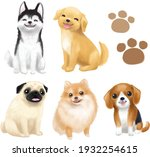 Dogs Vector Illustration Breed...