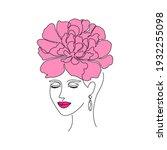 minimal woman face on white... | Shutterstock .eps vector #1932255098