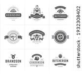 butcher shop logos set vector...   Shutterstock .eps vector #1932308402