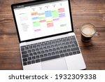 laptop with calendar app on...