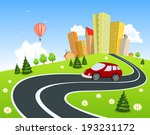 city surrounded by nature... | Shutterstock .eps vector #193231172