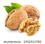 Small photo of Walnut with leaf isolate. Walnuts peeled and unpeeled with leaves on white. Walnut nut side view. With clipping path. Full depth of field.
