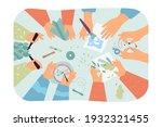 top view of desk with handmade... | Shutterstock .eps vector #1932321455